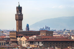 Above view of Palazzo Vecchio in Florence town Royalty Free Stock Photography