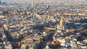Above view of Paris city with palace Les Invalides Royalty Free Stock Photography