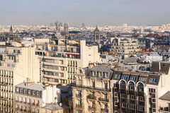 Above view of in Paris city in winter twilight Royalty Free Stock Images