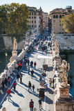 Above view of people walk on St Angel Bridge Royalty Free Stock Images