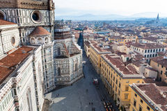 Above view of Piazza del Duomo in Florence Royalty Free Stock Photography