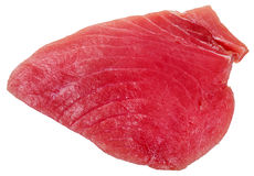 Above view of piece of raw tuna fish meat isolated Stock Photo