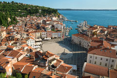 Above view of Piran with port and Tartini Square, Slovenia Stock Photos
