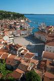 Above view of Piran with port and Tartini Square, Slovenia Royalty Free Stock Photography