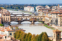 Above view of Ponte Vecchio in Florence city Royalty Free Stock Photo