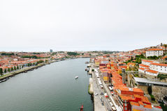 Above view of Porto city and river Douro Stock Image