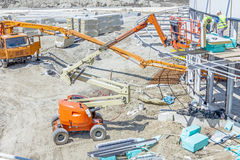 Above view on process of concrete transport over pump Stock Images