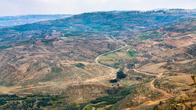 Above view Promised Land from Mount Nebo in winter. Travel to Middle East country Kingdom of Jordan - above view of Promised Land from Mount Nebo in winter Stock Photography