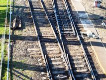 above view of railroad switch on railway tracks stock photo
