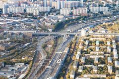 Above view of roads and railways in Moscow city stock images