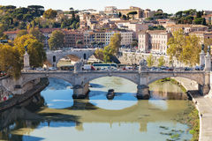 Above view of Rome and bridge Vittorio Emanuele II Royalty Free Stock Image