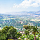 Above view of rural gardens in mountain valley Royalty Free Stock Images