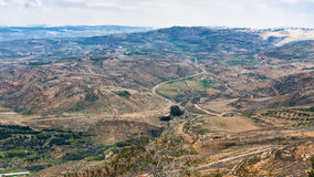Above view of rural landscape of Promised Land. Travel to Middle East country Kingdom of Jordan - above view of rural landscape of Promised Land from Mount Nebo Royalty Free Stock Photos