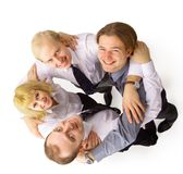 Above view of several happy business Stock Photos