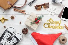 Above view shot of accessories fashion lifestyle to travel and Merry Christmas & Happy new year Royalty Free Stock Photography