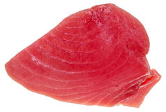 Above view of slice of raw tuna fish meat isolated Royalty Free Stock Photo