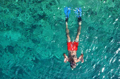 Above view of a snorkeling man Royalty Free Stock Image