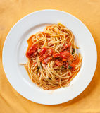 Above view of spaghetti with tomato sauce Stock Image