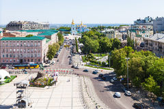 Above view of St Sophia Square in Kiev city. KIEV, UKRAINE - MAY 5, 2017: above view of people and monument of Bohdan Khmelnytsky on St Sophia Square and Saint Royalty Free Stock Photos