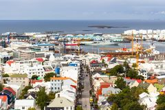 Above view of street and harbor in Reykjavik Royalty Free Stock Photo