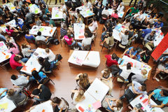 Above view of students in Youth health group Stock Photo