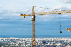 Above view of tall crane over Moscow city stock images