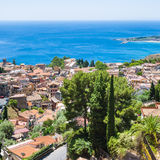 Above view Taormina town from Castelmola village Stock Photography