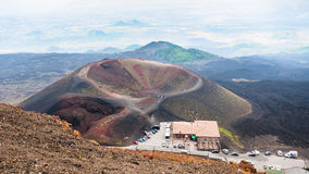 Above view on tourist camp on Etna volcano Royalty Free Stock Photography