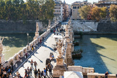 Above view of tourists walk on St Angel Bridge Royalty Free Stock Image