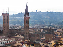 Above view towers of Badia Fiorentina in Florence Stock Photos