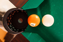 Above view on two billiard balls. Royalty Free Stock Image