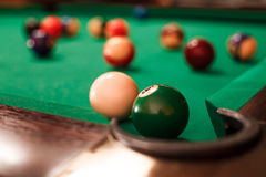 Above view on two billiard balls. Stock Photos