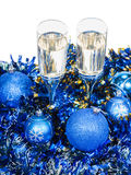 Above view of two glasses at blue Xmas decorations Royalty Free Stock Image