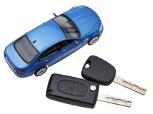 Above view of two vehicle keys and model car Stock Images