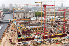 Above view of urban construction site royalty free stock photo
