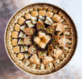 Above view of various sweet pastry baklava. Travel to Middle East country Kingdom of Jordan - above view of various traditional arabian sweet pastry baklava Stock Image