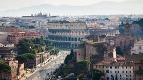 Above view of Via dei Fori Imperiali and Coliseum Stock Photo