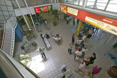 Above view of waiting area for airplane boarding in Durban, South Africa Stock Image