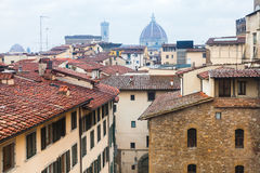 Above view of wet houses in Florence town in rain Stock Photo