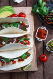 Above view of wheat wraps with mexican pork fajitas, selective focus. Close view Royalty Free Stock Images