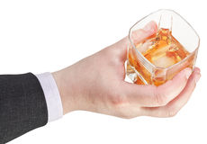 Above view of whiskey glass in businessman hand Stock Photography