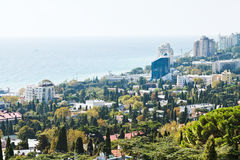 Above view of Yalta city and Black Sea Stock Photo