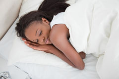 Above view of a young woman sleeping Royalty Free Stock Image