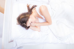 Above view of a young woman sleeping Stock Photos