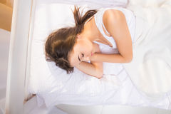 Above view of a young woman sleeping Stock Image