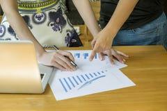 Above widok biznesowego spotkania dicuss pieniężnych dane rocznik Obraz Stock