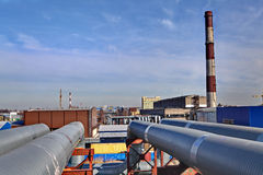 Aboveground pipeline leading Thermal power station Stock Images