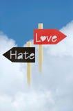 Abrégé sur amour et haine Photos stock