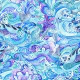 Abrégé sur bleu Marine Pattern aquarelle illustration libre de droits