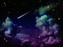 Abrégé sur ciel dans la lumière lumineuse colorée avec le météore Images stock